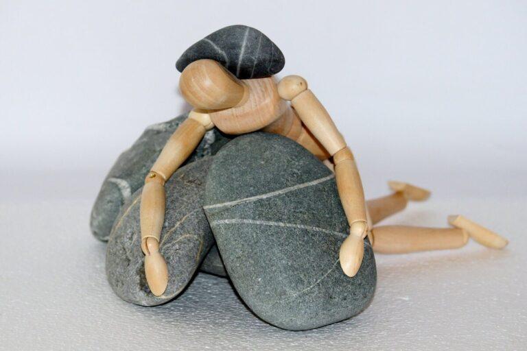 person buried under depression, burden, pressure